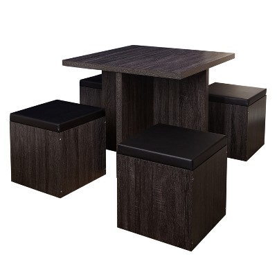 5pc Howard Dining Set with Storage Ottoman - Black/Gray - Buylateral
