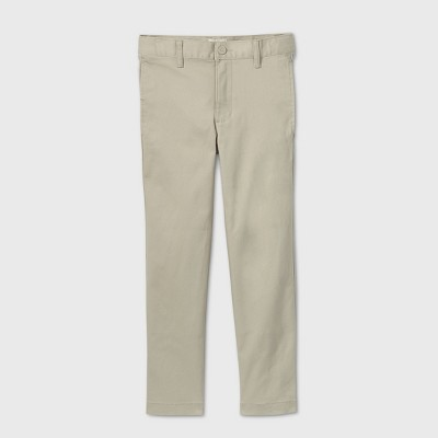 Boys' Flat Front Stretch Uniform Straight Fit Pants - Cat & Jack™ Light Khaki