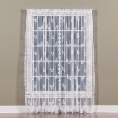 """Saturday Knight Ltd Butterfly High Quality & Bordered Scalloped Window Panel With 1.5"""" Rod Pocket"""