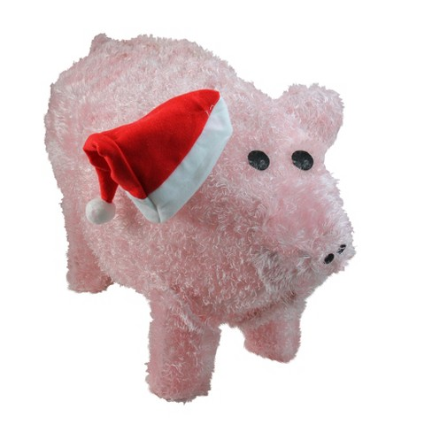 Christmas Pig.Northlight 28 Pre Lit Led Outdoor Chenille Pig In Santa Hat Christmas Outdoor Decoration