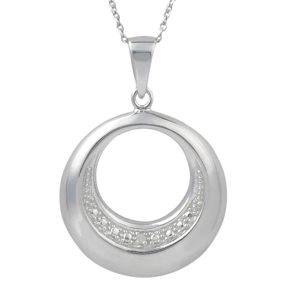 1/10 CT. T.W. Round-Cut Diamond Pave-Set Circle Pendant Necklace in Sterling Silver - Silver, Girl's