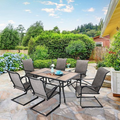 7pc Patio Dining Set with Rectangular Table with Umbrella Hole & C-Spring Motion Chairs - Captiva Designs