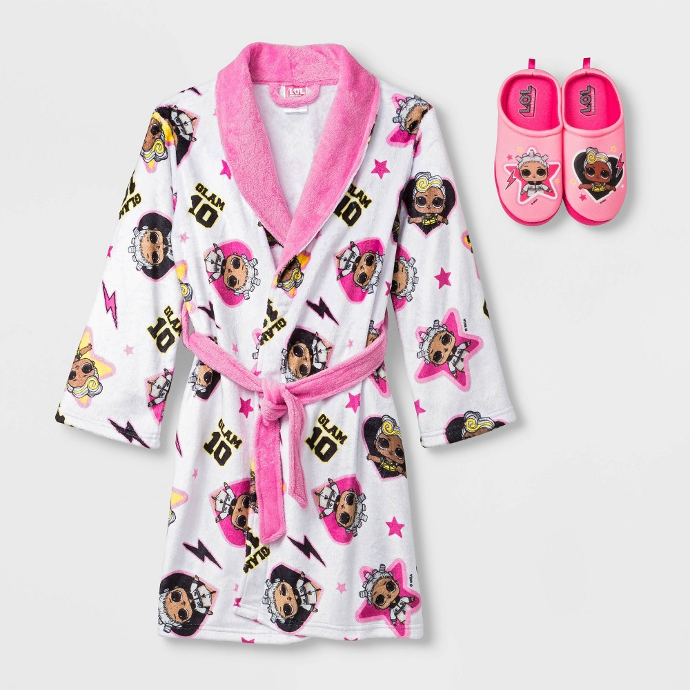 Image of Girls' L.O.L. Surprise! Robe with Slippers - White 4-5, Girl's