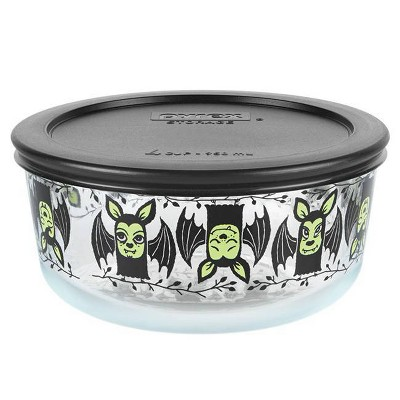 Pyrex 32oz Glass Enamel Bats Halloween Food Storage Container Black