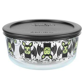 Pyrex 32oz Glass Enamel Bats Halloween Food Storage Container Black