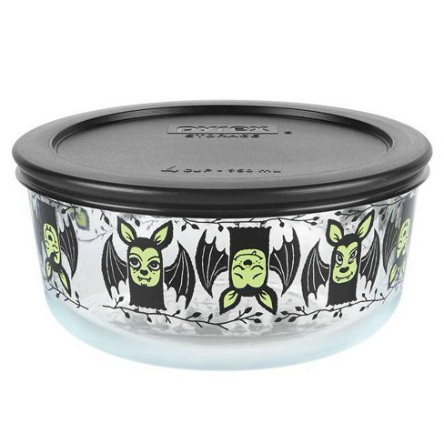 Pyrex 32oz Glass Enamel Bats Halloween Food Storage Container Black - image 1 of 1