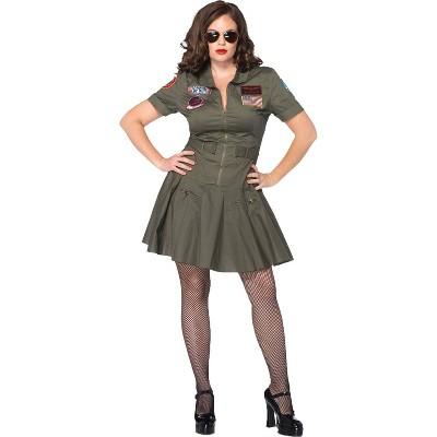 Adult Plus Size Top Gun Dress Halloween Costume Green 2X