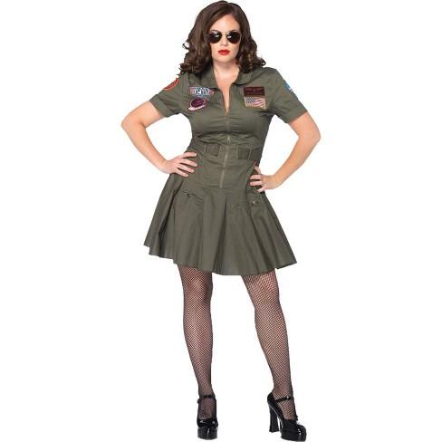 Adult Plus Size Top Gun Dress Halloween Costume Green 2X - image 1 of 3