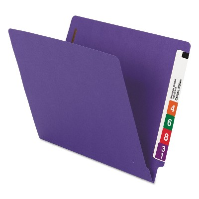"Smead WaterShed/CutLess End Tab 2 Fastener Folders 3/4"" Exp. Letter Purple 50/Box 25550"