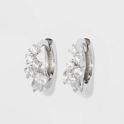 Sterling Silver Cubic Zirconia Cluster Huggie Earrings - A New Day™ Silver