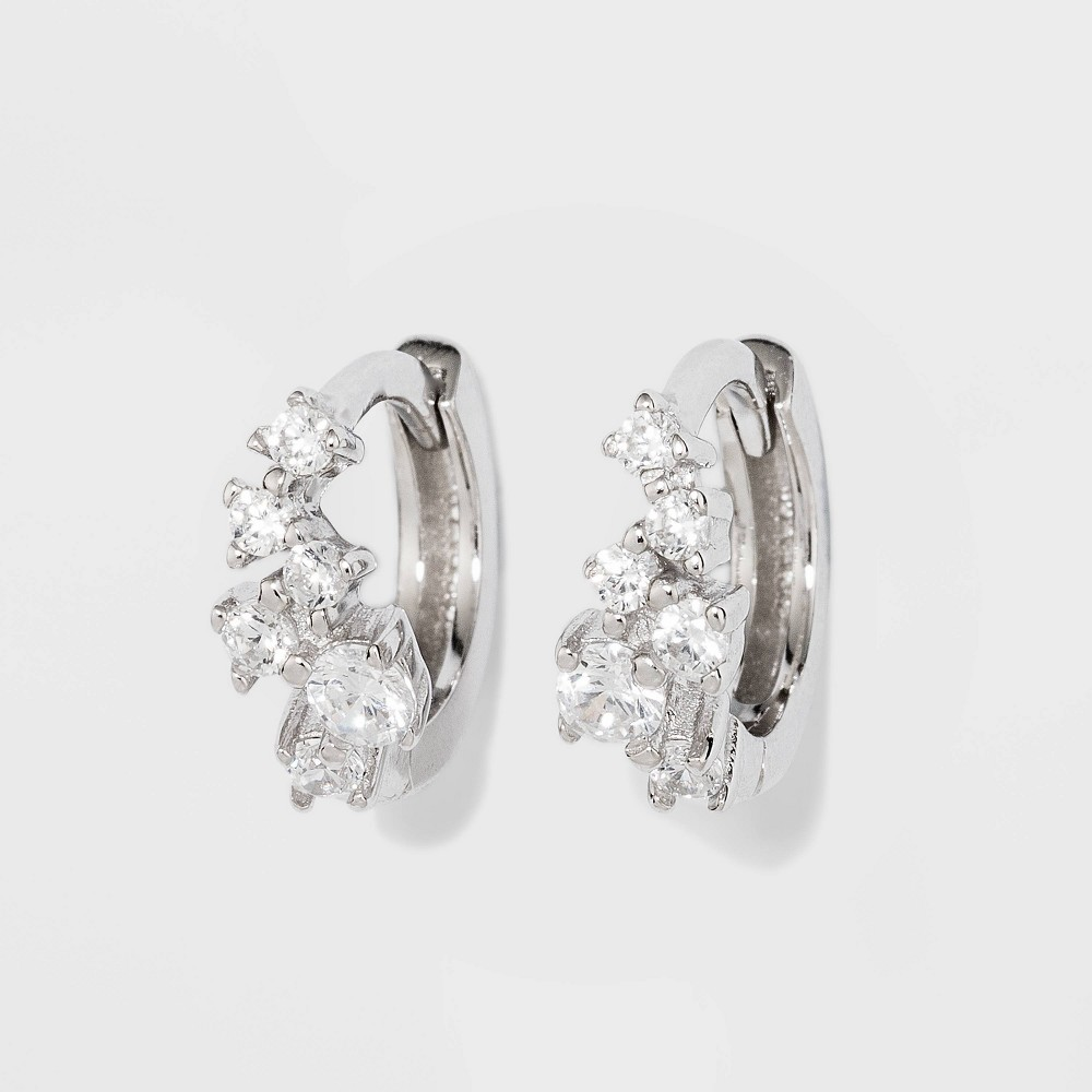 Sterling Silver Cubic Zirconia Cluster Huggie Earrings - A New Day Silver