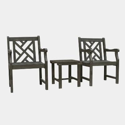 Renaissance 3pc Wood Outdoor Patio Conversation Set - Gray - Vifah
