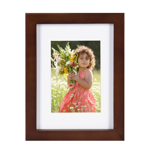 "5"" x 7"" Matted to 3.5"" x 5"" Gallery Tabletop Frame Walnut Brown - DesignOvation - image 1 of 4"
