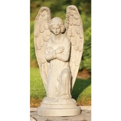 "Roman 30"" Kneeling Angel with Arms Folded Outdoor Patio Garden Statue - Gray"