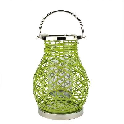 "Northlight 13.5"" Modern Green Decorative Woven Iron Pillar Candle Lantern with Glass Hurricane"