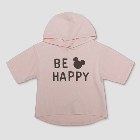 d7244609d27d0 Junk Food Toddler Girls  Disney Mickey Mouse  Be Happy  Hoodie - Pastel Pink
