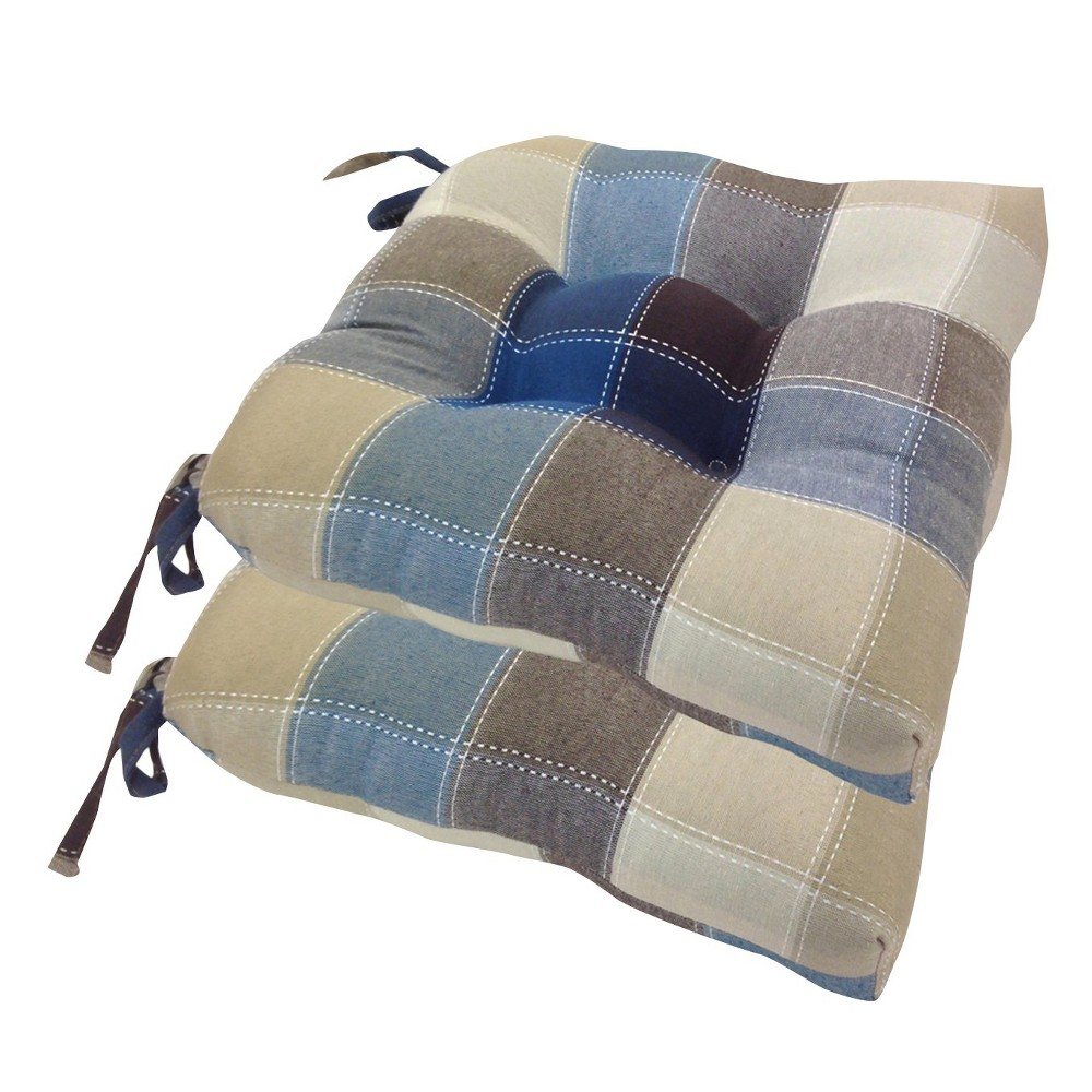 Image of Cobalt Harris Plaid Woven Plaid Chair Pads With Tiebacks (Set Of 4) - Essentials, Blue