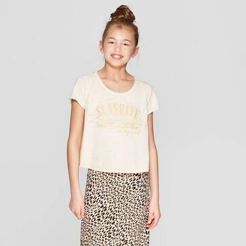 5523643925d8 Girls' Short Sleeve Graphic T-Shirt - Art Class™ Off White S : Target