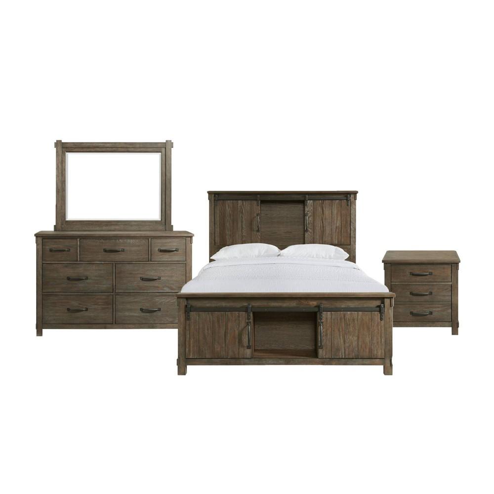 Image of 3pc King Jack Platform Storage Bedroom Set Walnut - Picket House Furnishings
