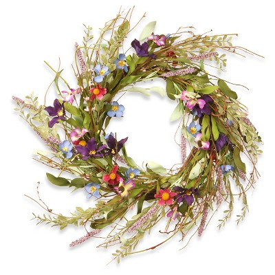 Floral Wreath Mixed Flowers - Blue/Purple/Pink (20 )