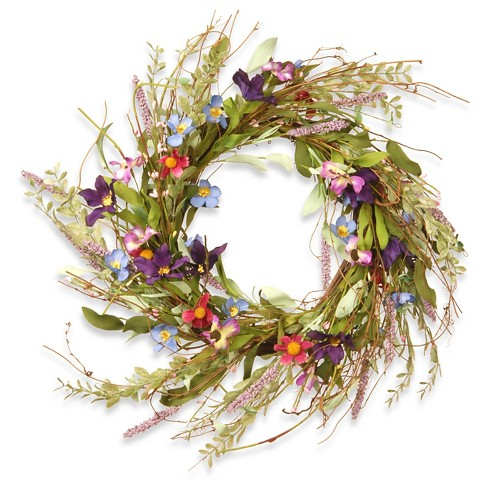 """Floral Wreath Mixed Flowers - Blue/Purple/Pink (20"""") - image 1 of 4"""