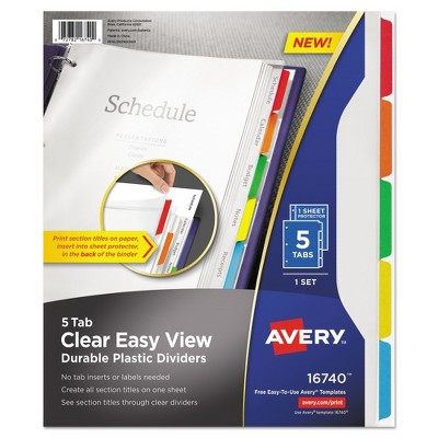 Avery clear view plastic dividers with sheet protector multicolor avery clear view plastic dividers with sheet protector multicolor 5 tab letter target colourmoves