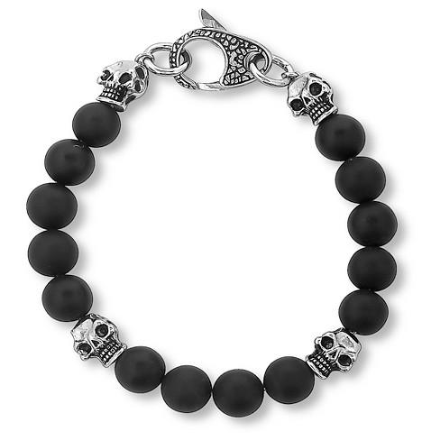 Men S Crucible Matte Black Onyx Skull And Beaded Bracelet