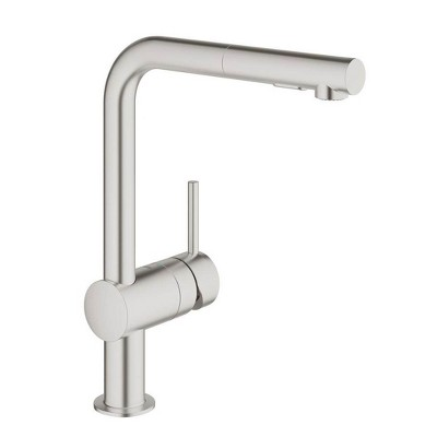 Grohe Minta Single Handle Stainless Super Steel Anti Lime Kitchen Sink Faucet