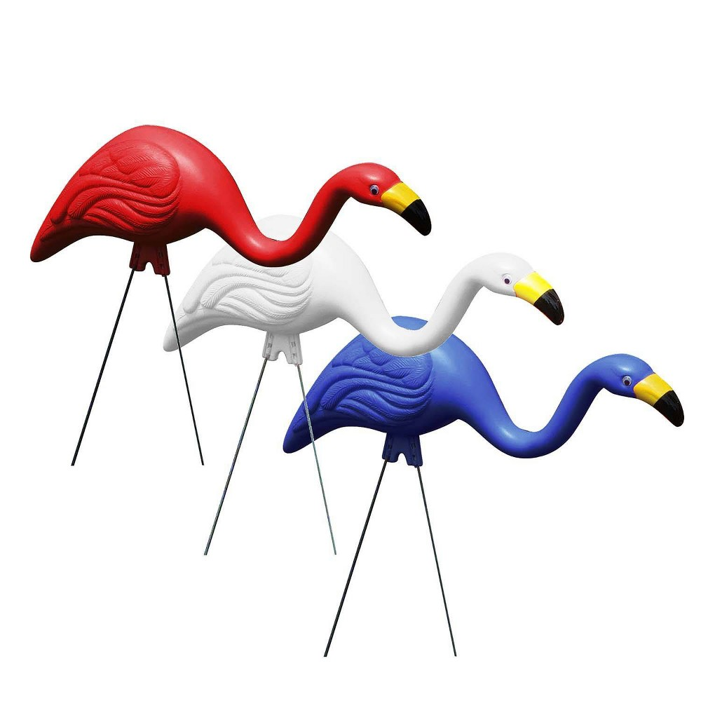 Image of 3pk Steel Flamingo Yard Stakes Red/White/Blue - Bloem