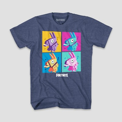 Boys' Fortnite Llama Grid Short Sleeve T-Shirt - Denim Heather