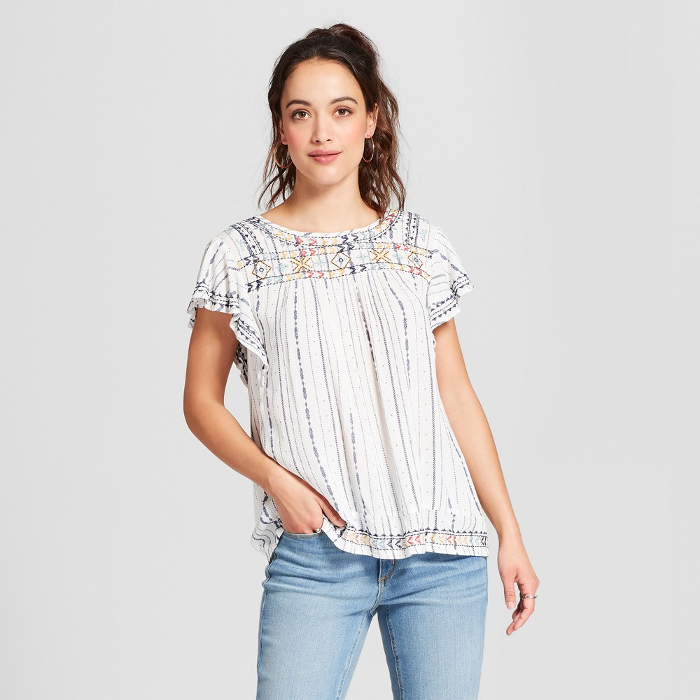Women's Striped Flutter Sleeve Embroidered Blouse - Knox Rose White L, Blue