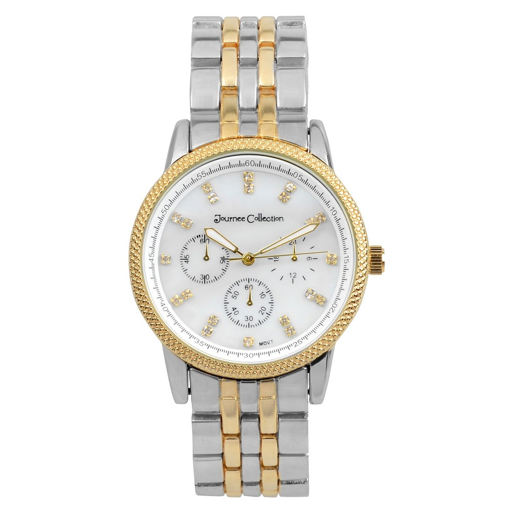 Women's Journee Collection Classic Round Face Link Watch - Two-Tone, Silver