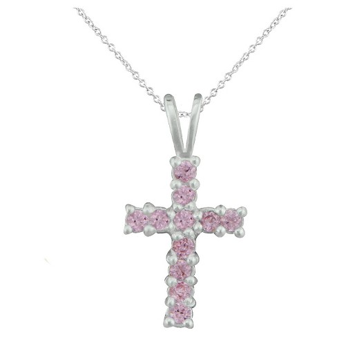"Girls' Sterling Silver Cubic Zirconia Cross Pendant-15"" Plated Chain-Pink - image 1 of 1"