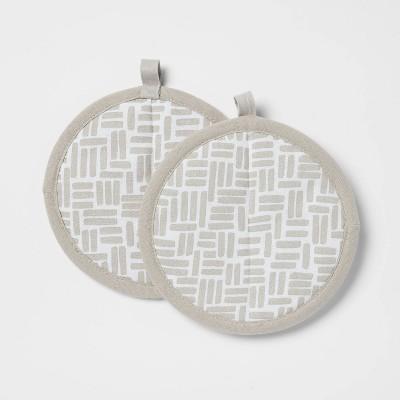 2pk Cotton Printed Kitchen Pot Holder Gray - Room Essentials™