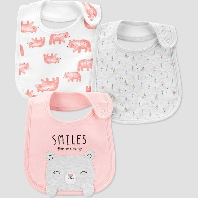 Baby Girls' 3pk Bear Bib Set - Just One You® made by carter's Pink