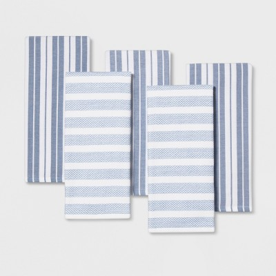 5pc Kitchen Towels White/Blue - Threshold™