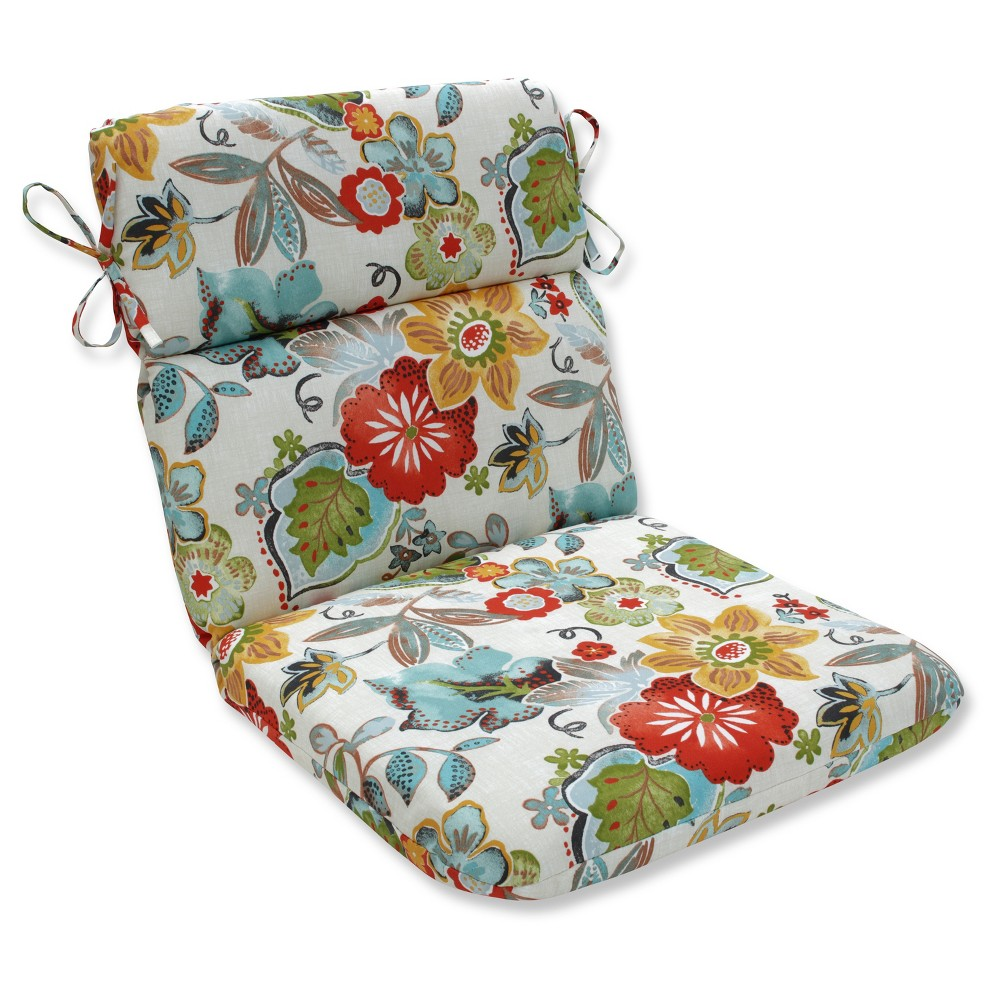 Outdoor/Indoor Alatriste Ivory Rounded Corners Chair Cushion - Pillow Perfect, Multi-Colored