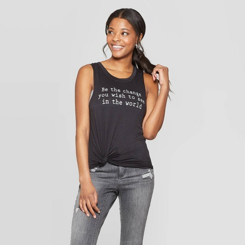 Women's Be The Change Tank Top - Grayson Threads (Juniors') - Black - image 1 of 6