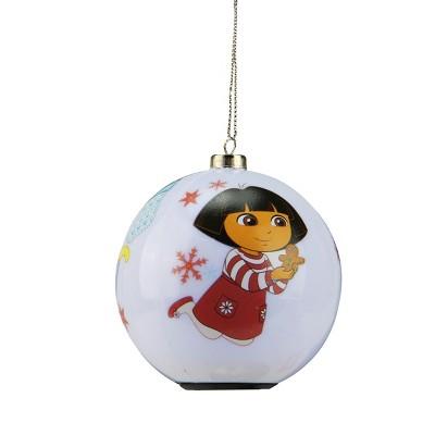 """Carlton Cards 3.25"""" Heirloom LED Lighted Dora the Explorer Ball Christmas Ornament - White/Red"""