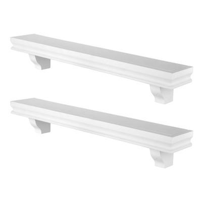 "23.6"" x 4"" 2pc Decorative Floating Display Ledge Shelves White - Danya B."