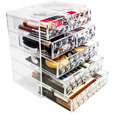 Sorbus Acrylic Cosmetic Makeup and Jewelry Storage Case Display  -  Diamond Pattern (3 Large/4 Small Drawers)