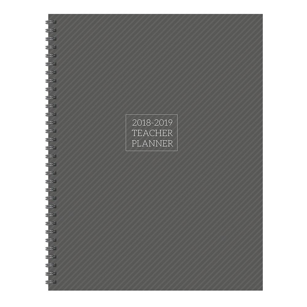 2018 - 2019 Academic Teacher Spiral Monthly Weekly Planner - Gray