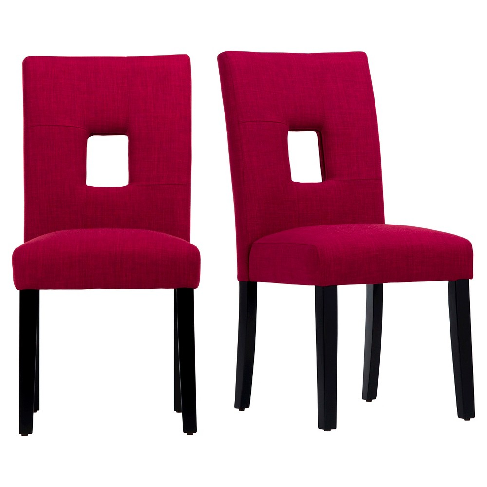 Phelan Keyhole Dining Chair - Wine (Set of 2) - Inspire Q, Red