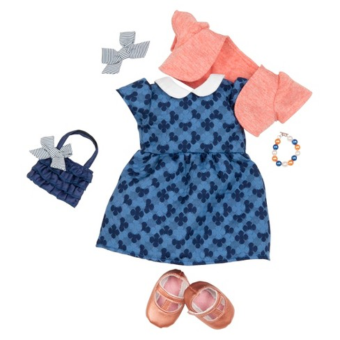 Our Generation Deluxe Outfit - Blue Dress with Coral Shrug - image 1 of 2