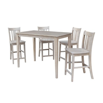 5pc Solid Wood 30 X 48 Counter Height Table And 4 San Remo Dining Sets Washed Gray Taupe International Concepts Target