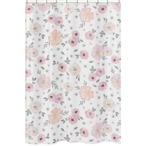 Floral Shower Curtain Pink - Sweet Jojo Designs - image 1 of 4