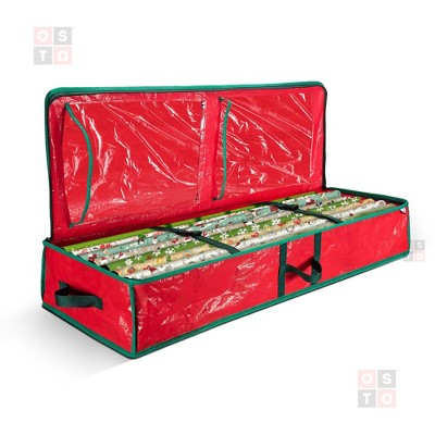 "OSTO Underbed Gift Wrap Storage Bag and Accessory Organizer Fits 18-24 Standard Rolls of 40"". Tearproof and Water-Resistant"