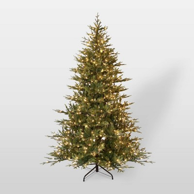 7.5ft Pre-Lit Full Berkshire Fir Artificial Christmas Tree - Puleo