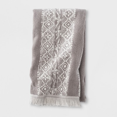 Stamped Geo Bath Towel Gray - Threshold™