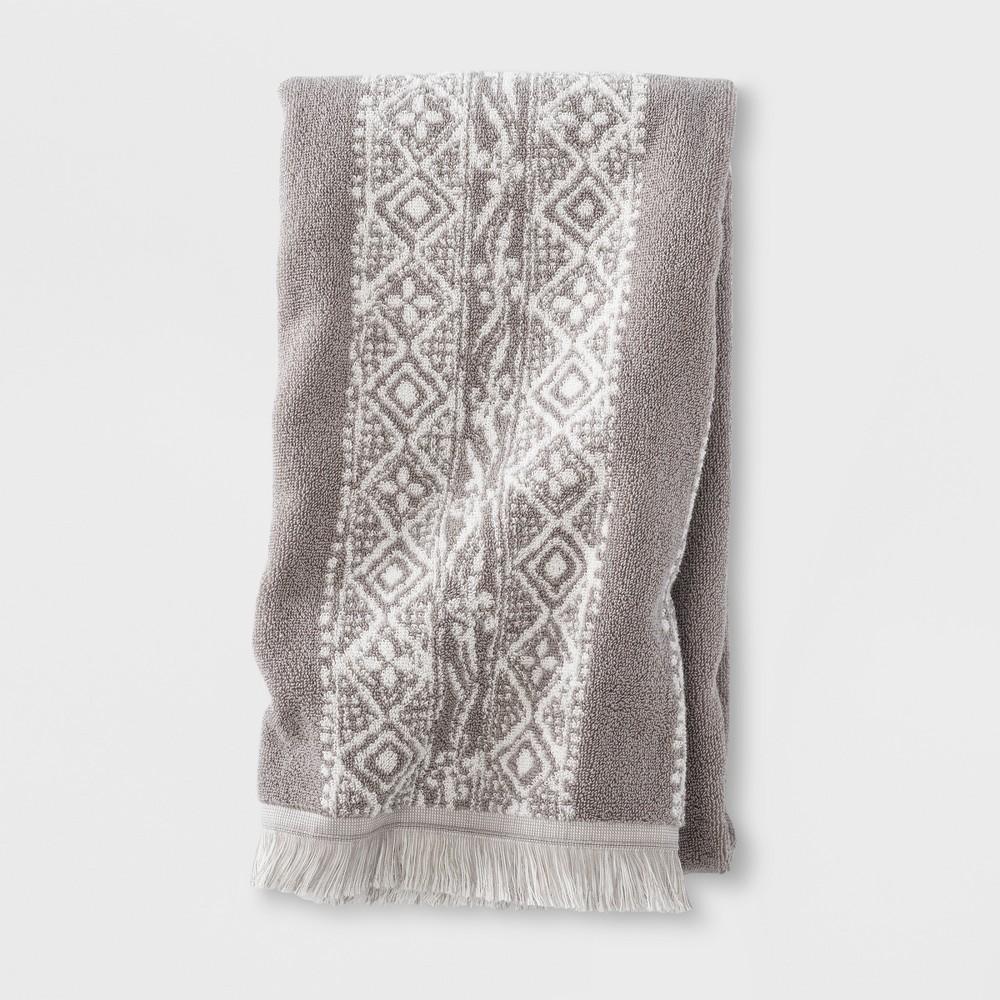 Image of Bath Towel Stamped Geo Bath Towel Classic Gray Bath Towels And Washcloths Classic Gray - Threshold